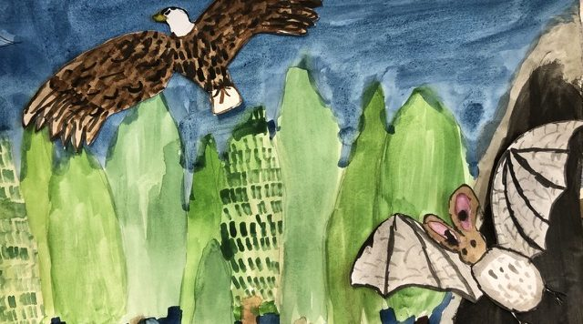 A watercolour painting by a child of a bird of prey flying over trees and a bat flying out of a cave in the right corner. One of the outcomes from the Family Activity pack 'And Then the Wildlife Came Back'