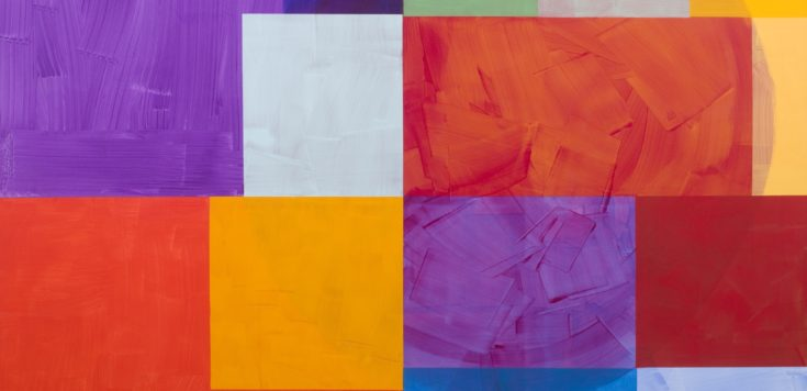 Acrylic painting with heavy brush strokes of a faded sphere in the background on top of this are geometric vibrant blocks of colour; purple, orange and blues.