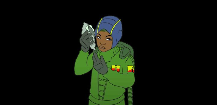 A computer animated black boy in a green spacesuit holding a shell up to their ear